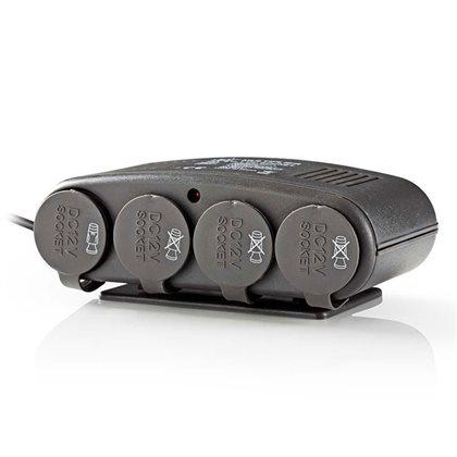 NEDIS DCPA003 Universal αντάπτορας αυτοκινήτου 12V, με 4 εξόδους 12V και 1 USB 5V.